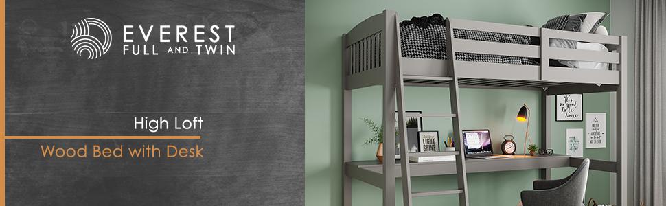 everest, high loft wood bed with desk, loft bed