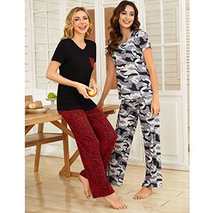 Women's Pajama Set Short Sleeve and Long Pants Two-Piece Sleepwear Soft Pjs Loungewear