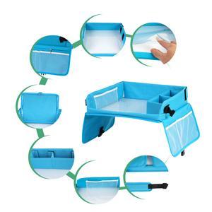 Muhoo Knietablett Reisetisch Auto Kinder Einstellbar Tragbar Reisetisch Auto Kindersitz Multifunktional Lernspielzeug Für Autositz Mit 1 Laptoptasche Und 8 Farbstifte Blau Baby