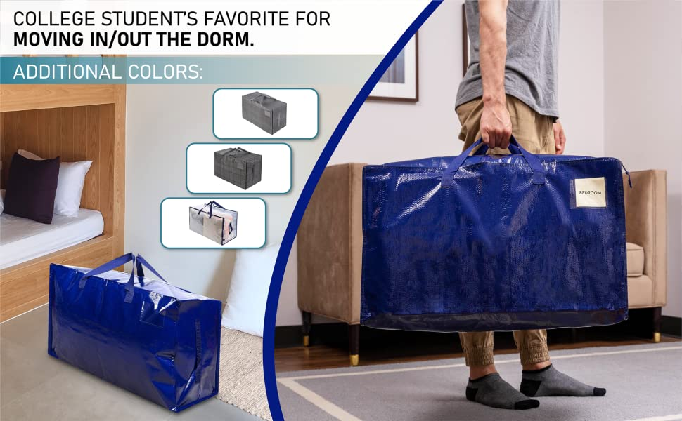 VENO storage bags and moving bags are dorm room essentials, color in black, transparent, blue