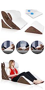LX5 4pcs Wedge Pillow Set Brown