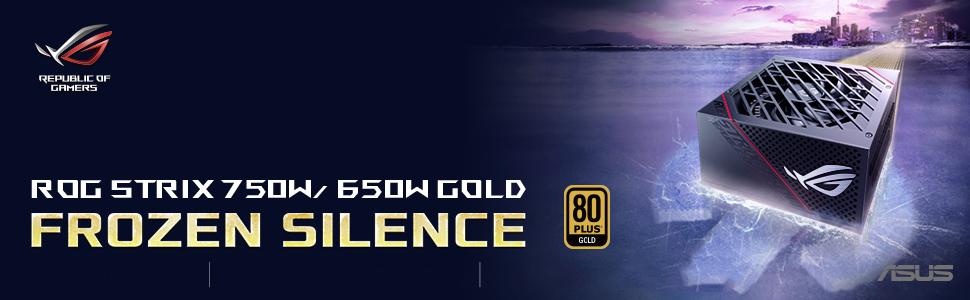 ASUS ROG Strix 750 Fully Modular 80 Plus Gold 750W ATX Power Supply with 0dB Axial Tech Fan