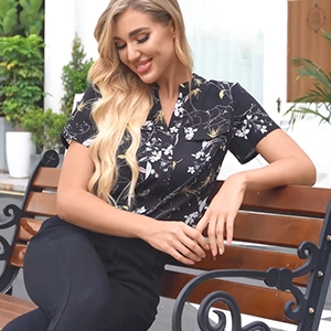 Women Cute Blouse Top Short Sleeve V Neck Shirt