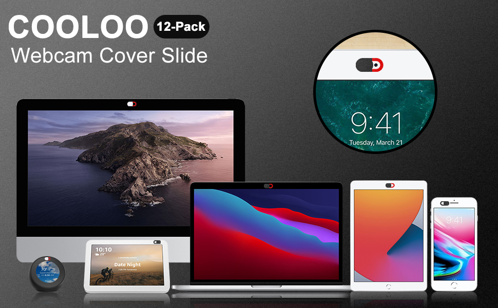 COOLOO 12 Pack Webcam Cover for Laptop