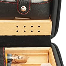 cedar wood cigar humidor with lighter and cutter, black leather cigar case, for outdoor and home
