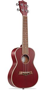 """red Ashthorpe ukulele, 23"""" concert size, mahogany body and neck, walnut fret and bridge, 4 string"""