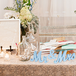 Light Blue Mr and Mrs Wedding Sign