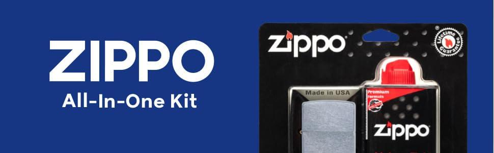 zippo, zippo lighter, all in one kit, all in one, lighter fluid, lighter, flint, windproof lighter