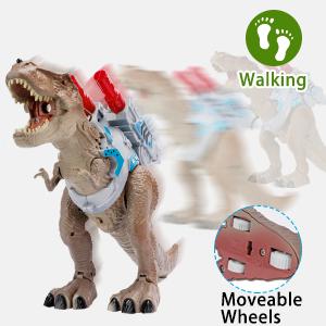 RealistiRealistic glowing toy dinosaur TREX is walkingc glowing toy dinosaur TREX is walking