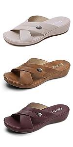 Women Wedge Sandals Comfort Soft Leather Platform Shoes Summer Outdoor Open Toe Cross-Strap Slide