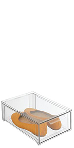 Clear Plastic Stackable Closet Storage Box with Drawer Containing Yellow Flats Slip-on Shoes