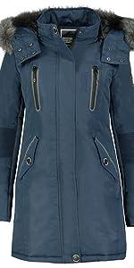 parka de invierno con capucha abrigo de piel caliente de las mujeres mangas grandes
