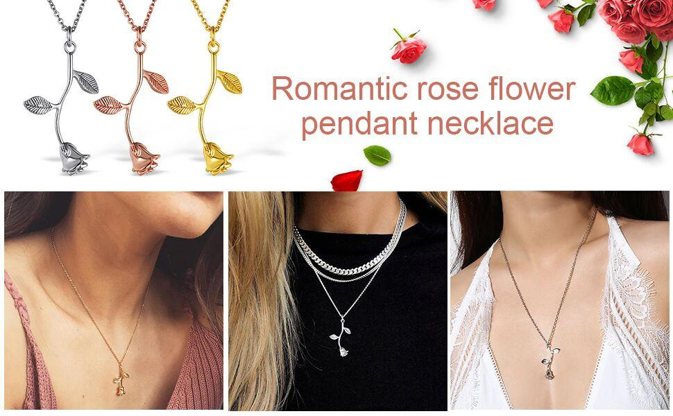 rose flower necklaces for women