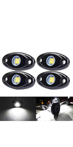 White LED Rock Lights, 4 Pods Neon 12V Underglow Kit Crawler Crawling Dome Exterior Wheel Lights