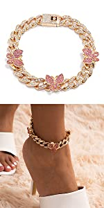 Small Pink Butterfly Cuban Anklet