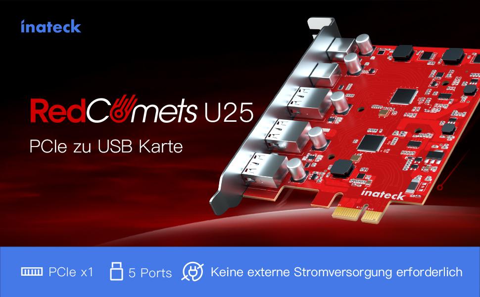 Inateck RedComets U25, PCIe x 1 USB C Karte