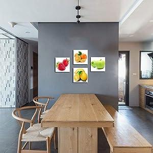 ramed Orange, Apple, Lemon, Strawberry Fruits Design Wall Artwork Paintings