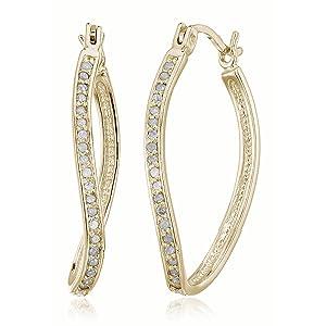 Vir Jewels 1/4 cttw Yellow Gold Plated Sterling Silver Diamond Hoop Earrings