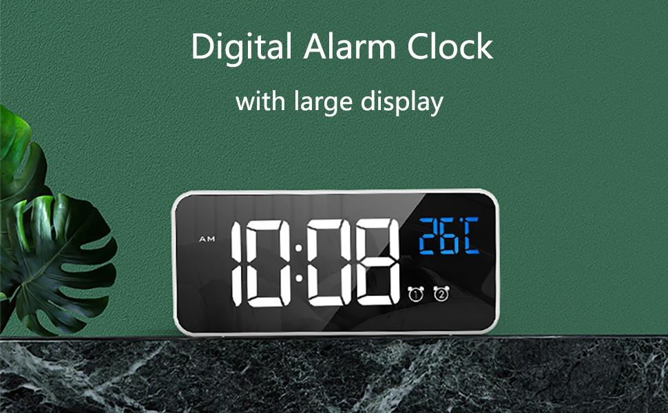 Digital alarm clock with large display