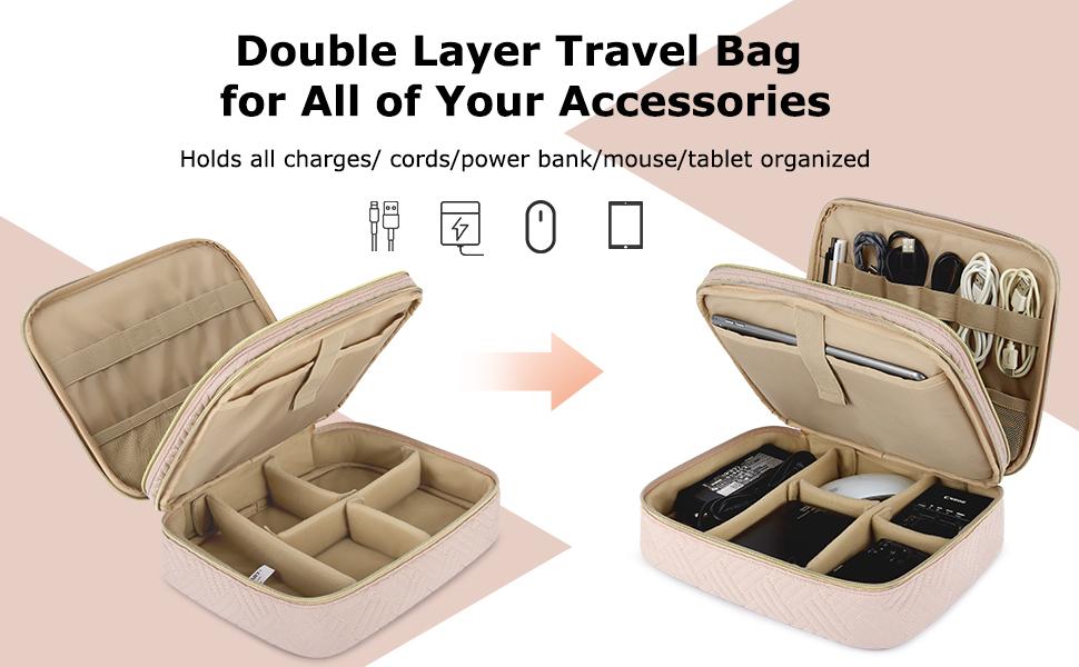 Bagsmart Electronics Organizer Double Layer Cable Organizer Bag