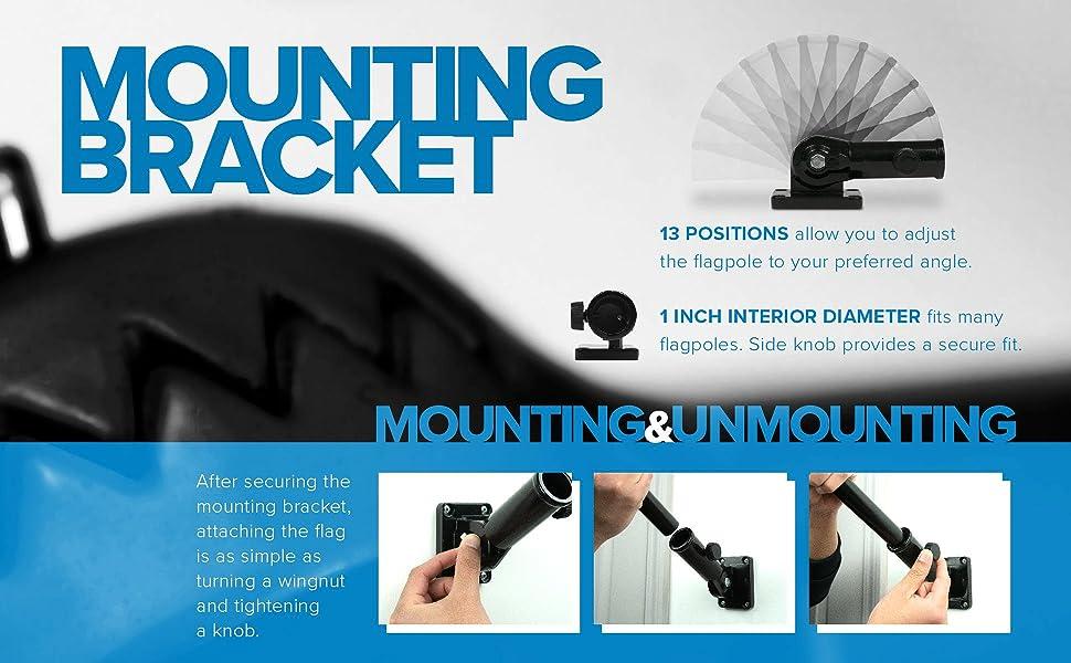 flagpole, mounting bracket, black, 13 positions, 13 angles