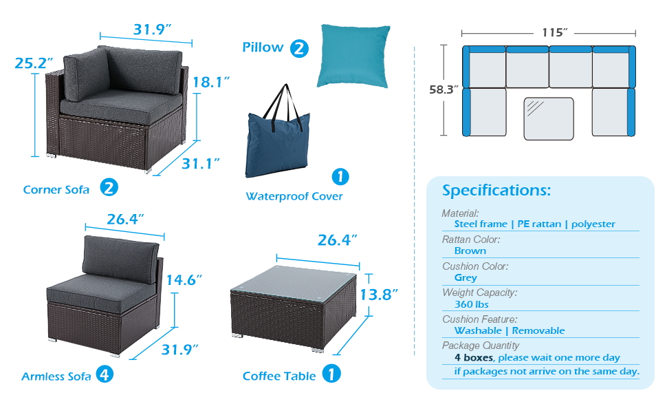 Large Patio Furniture 7 Piece Set, Outdoor Sectional with Non-Slip Cushions and Waterproof Cover,