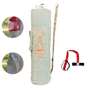 yoga mat bag with multi-purpose pocket for carrying water bottle and other equipment.