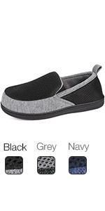 MERRIMAC Mens Breathable Mesh Memory Foam House Slippers with Dual Elestic Gores