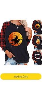 Halloween Witch Moon Bat Print Shirt Womens Pumpkin Horror Sweatshirt