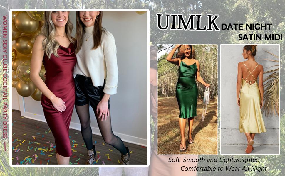 UIMLK Sexy Clube Cocktail Date Night Satin Midi Dress