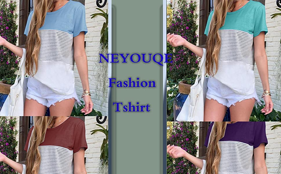 NEYOUQE Womens Loose Color Block Striped Short Sleeve T Shirts Casual Comfy Tops