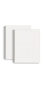 Large 1/5 in Grid Graph Ruled Spiral Notebook 8.5 x 11 IN