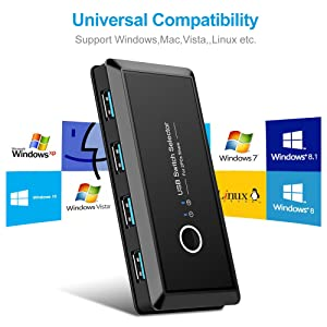 4 port USB switch works flawlessly with Windows Mac OS X, Linux, and Chrome OS.