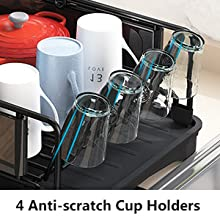 Dish Drying Rack and Drainboard Set, 2 Tier Dish Drainer with Swivel Spout for Kitchen Counter