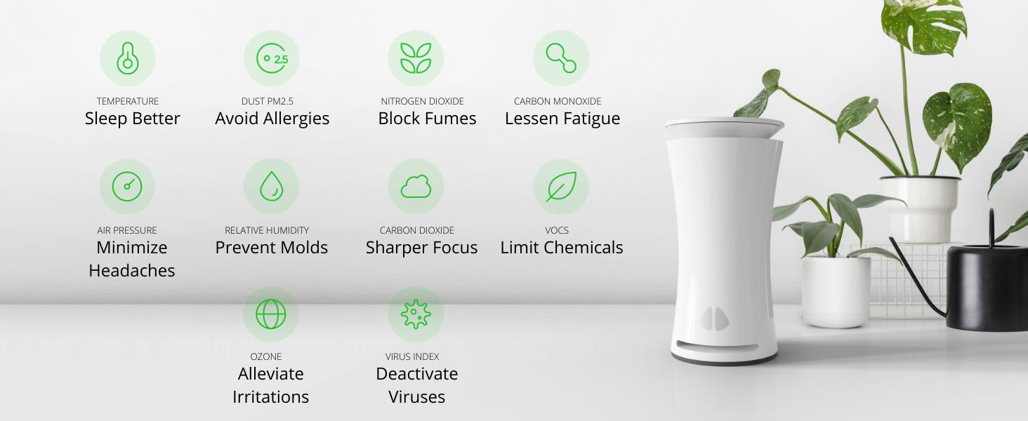 9 air monitor sensors TVOC Air Quality Monitor Airthings, Luft, Awair