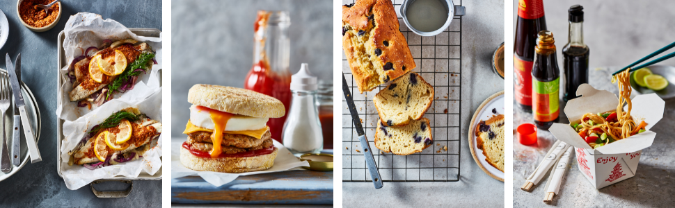 Sea bass parcels, Sausage and egg muffins, Blueberry and yoghurt loaf, Spicy drunken noodles
