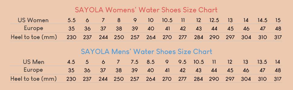 SIMARI Water Shoes Size Chart