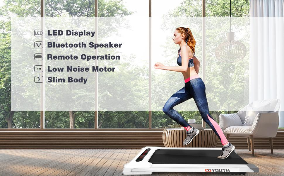 LED display, bluetooth speaker, remote control operation, low-noise motor, slimming