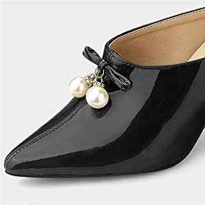 Allegra K Women's Pointed Toe Pearl Bow Chunky Heel Slides Mules