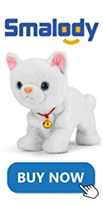 Electronic Plush Cat Pet, Touch Control(White)