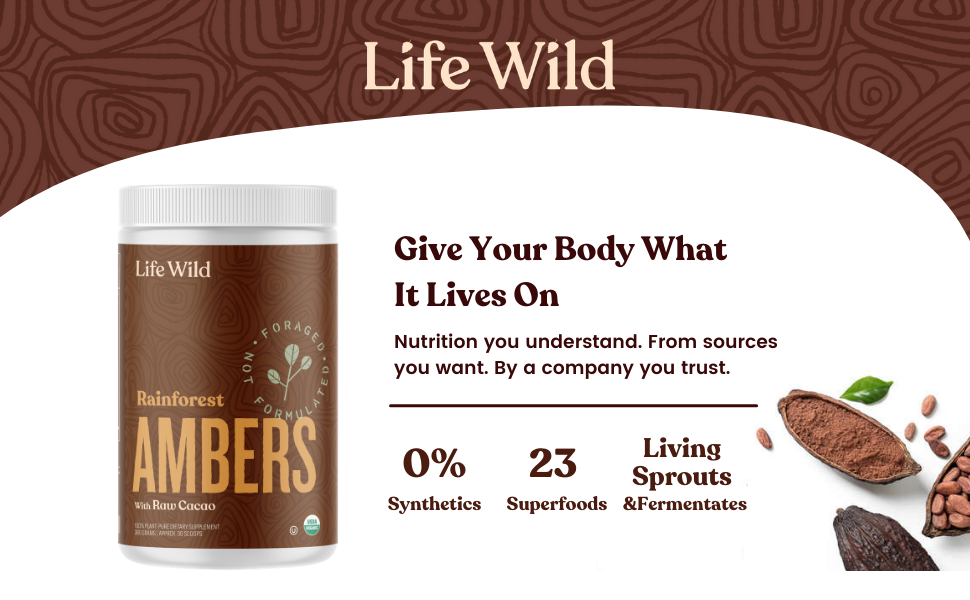 Life Wild Rainforest Ambers Superfood Powder. 23 Superfoods Living sprouts & Fermented Garlic