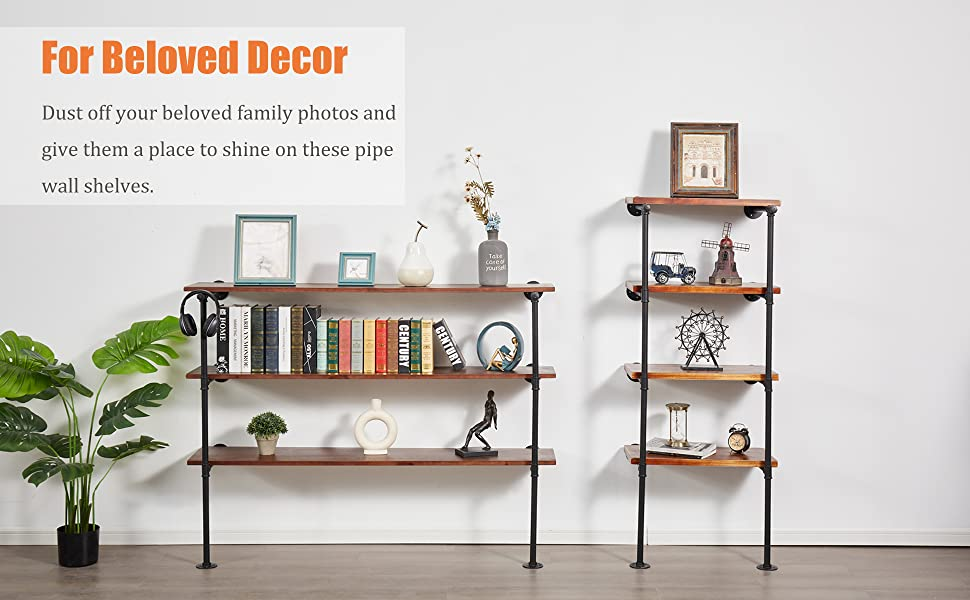 shine your photos on these pipe wall shelves