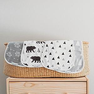 Organic Baby Bear Burp Cloths with Burp Cloth Bag
