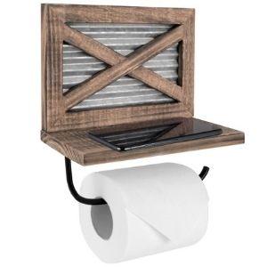 Barn Door Toilet Paper Holder with Shelf