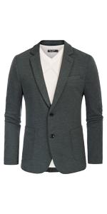 mens casual knit suit blazer jacket slim fit notch lapel two button unlined sport coat for men