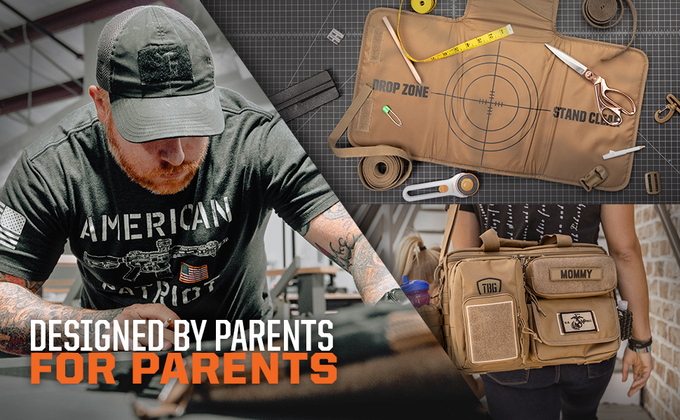 Designed by Parents for Parents, Photos of Man Working, Changing Mat and Woman Wearing Diaper Bag