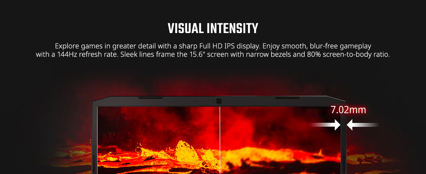 fhd full hd ips display widescreen 144hz 15 inch inches screen to body ratio bezels thin narrow