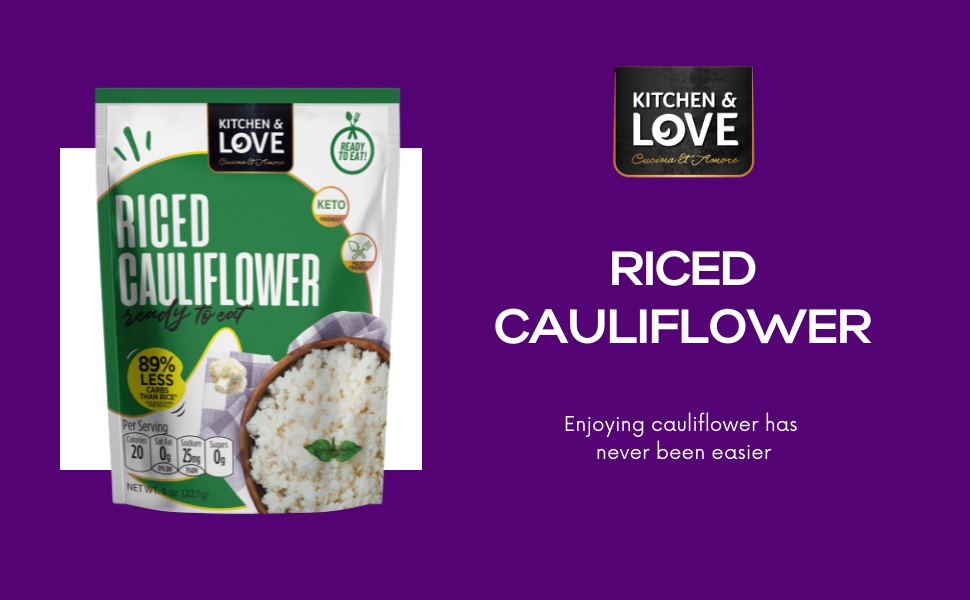 Kitchen amp; Love Riced Cauliflower pouch ready to eat easy