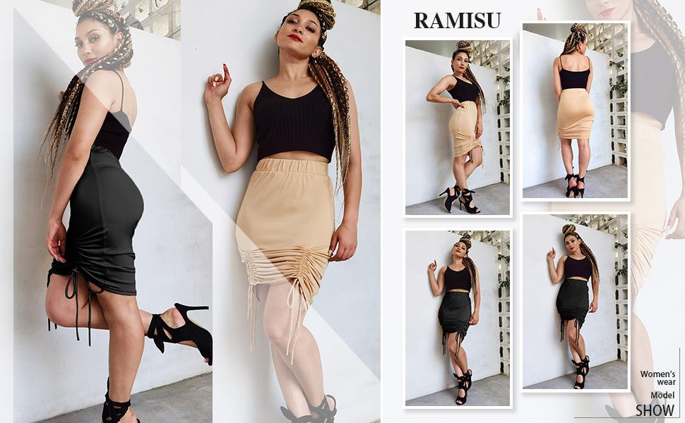 Women's High Waist Drawstring Ruched Midi Skirt
