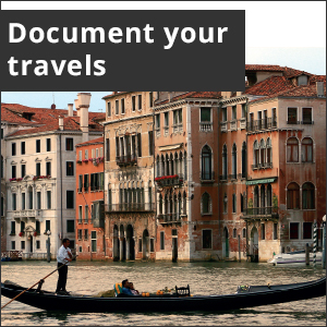 Picture of gondola in Venice canal. White text in black box reads, Document your travels.